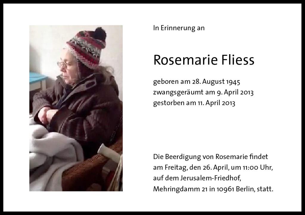 beerdigung von rosemarie fliess am freitag « steigende mieten stoppen!, Einladung