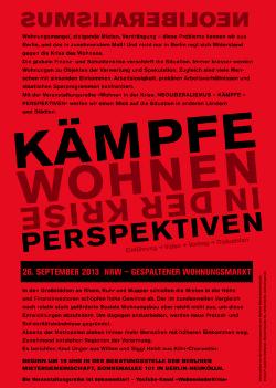 Wohnen in der Krise 26.9.2013: NRW